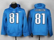 Wholesale Detroit Lions #81 Calvin Johnson Pullover NFL Hoodie Blue