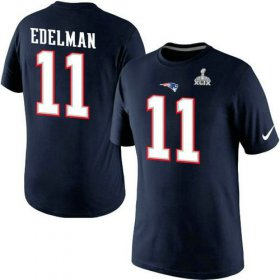 Wholesale Cheap Nike New England Patriots #11 Julian Edelman Pride Name & Number 2015 Super Bowl XLIX NFL T-Shirt Navy Blue