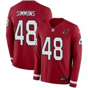 Wholesale Cheap Nike Cardinals #48 Isaiah Simmons Red Team Color Youth Stitched NFL Limited Therma Long Sleeve Jersey