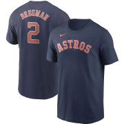 Wholesale Cheap Houston Astros #2 Alex Bregman Nike Name & Number T-Shirt Navy