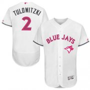 Wholesale Cheap Blue Jays #2 Troy Tulowitzki White Flexbase Authentic Collection Mother's Day Stitched MLB Jersey