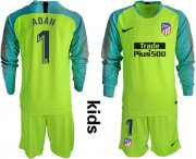 Wholesale Cheap Atletico Madrid #1 Adan Shiny Green Goalkeeper Long Sleeves Kid Soccer Club Jersey