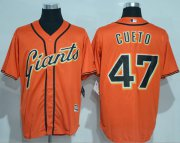 Wholesale Cheap Giants #47 Johnny Cueto Orange New Cool Base Alternate Stitched MLB Jersey