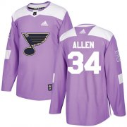 Wholesale Cheap Adidas Blues #34 Jake Allen Purple Authentic Fights Cancer Stitched Youth NHL Jersey