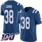 Wholesale Cheap Nike Colts #38 T.J. Carrie Royal Blue Team Color Youth Stitched NFL 100th Season Vapor Untouchable Limited Jersey