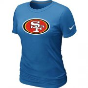 Wholesale Cheap Women's Nike San Francisco 49ers Logo NFL T-Shirt Light Blue