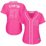 Wholesale Cheap Yankees #27 Giancarlo Stanton Pink Fashion Women's Stitched MLB Jersey