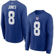Wholesale Cheap New York Giants #8 Daniel Jones Nike Player Name & Number Long Sleeve T-Shirt Royal