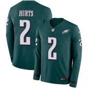 Wholesale Cheap Nike Eagles #2 Jalen Hurts Green Team Color Men's Stitched NFL Limited Therma Long Sleeve Jersey