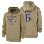 Wholesale Cheap Baltimore Ravens #15 Marquise Brown Nike Tan 2019 Salute To Service Name & Number Sideline Therma Pullover Hoodie