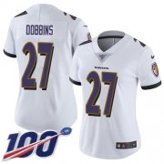 Wholesale Cheap Nike Ravens #27 J.K. Dobbins White Women's Stitched NFL 100th Season Vapor Untouchable Limited Jersey