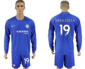 Wholesale Cheap Chelsea #19 Diego Costa Home Long Sleeves Soccer Club Jersey