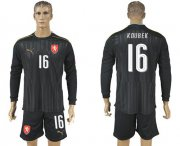 Wholesale Cheap Czech #16 Koubek Black Long Sleeves Goalkeeper Soccer Country Jersey