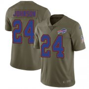 Wholesale Cheap Nike Bills #24 Taron Johnson Olive Men's Stitched NFL Limited 2017 Salute To Service Jersey