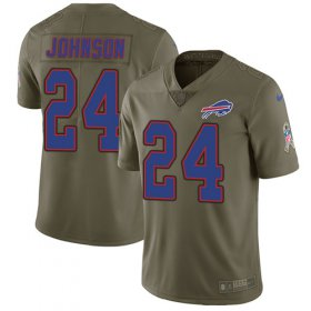 Wholesale Cheap Nike Bills #24 Taron Johnson Olive Men\'s Stitched NFL Limited 2017 Salute To Service Jersey