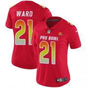 Wholesale Cheap Nike Browns #21 Denzel Ward Red Women's Stitched NFL Limited AFC 2019 Pro Bowl Jersey
