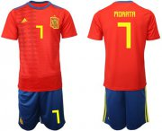 Wholesale Cheap Spain #7 Morata Home Soccer Country Jersey