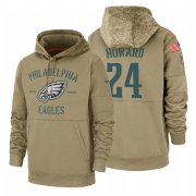 Wholesale Cheap Philadelphia Eagles #24 Jordan Howard Nike Tan 2019 Salute To Service Name & Number Sideline Therma Pullover Hoodie