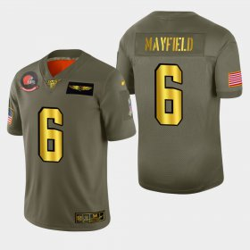 Wholesale Cheap Nike Browns #6 Baker Mayfield Men\'s Olive Gold 2019 Salute to Service NFL 100 Limited Jersey