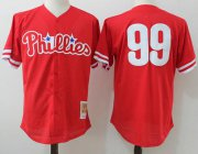 Wholesale Cheap Mitchell And Ness Phillies #99 Mitch Williams Red Throwback Stitched MLB Jersey
