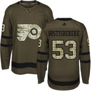 Wholesale Cheap Adidas Flyers #53 Shayne Gostisbehere Green Salute to Service Stitched Youth NHL Jersey