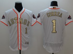 Wholesale Cheap Astros #1 Carlos Correa White FlexBase Authentic 2017 World Series Champions Gold Program Stitched MLB Jersey