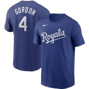Wholesale Cheap Kansas City Royals #4 Alex Gordon Nike Name & Number T-Shirt Royal