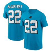 Wholesale Cheap Carolina Panthers #22 Christian McCaffrey Nike Team Player Name & Number T-Shirt Blue