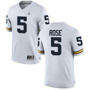Wholesale Cheap Men's Michigan Wolverines #5 Jalen Rose Retired White Stitched College Football Brand Jordan NCAA Jersey