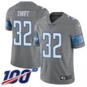 Wholesale Cheap Nike Lions #32 D'Andre Swift Gray Youth Stitched NFL Limited Rush 100th Season Jersey