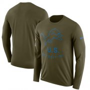 Wholesale Cheap Men's Detroit Lions Nike Olive Salute to Service Sideline Legend Performance Long Sleeve T-Shirt