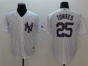 Wholesale Cheap Yankees #25 Gleyber Torres White Strip New Cool Base 2018 Stars & Stripes Stitched MLB Jersey