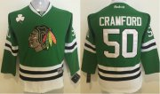 Wholesale Blackhawks #50 Corey Crawford Green Stitched Youth NHL Jersey