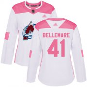 Wholesale Cheap Adidas Avalanche #41 Pierre-Edouard Bellemare White/Pink Authentic Fashion Women's Stitched NHL Jersey