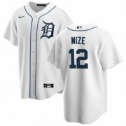 Wholesale Cheap Men's Detroit Tigers #12 Casey Mize Majestic White Home Cool Base Player Jersey