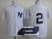 Wholesale Cheap Yankees #2 Derek Jeter White Autographed Stitched MLB Jersey