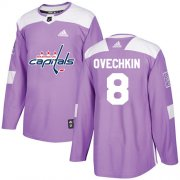 Wholesale Cheap Adidas Capitals #8 Alex Ovechkin Purple Authentic Fights Cancer Stitched Youth NHL Jersey