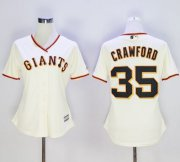 Wholesale Cheap Giants #35 Brandon Crawford Cream Home Women's Stitched MLB Jersey