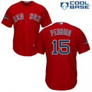 Wholesale Cheap Red Sox #15 Dustin Pedroia Red New Cool Base 2018 World Series Stitched MLB Jersey