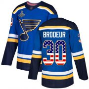 Wholesale Cheap Adidas Blues #30 Martin Brodeur Blue Home Authentic USA Flag Stanley Cup Champions Stitched NHL Jersey