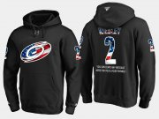 Wholesale Cheap Hurricanes #2 Glen Wesley NHL Banner Wave Usa Flag Black Hoodie