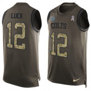 Wholesale Cheap Nike Colts #12 Andrew Luck Green Men's Stitched NFL Limited Salute To Service Tank Top Jersey
