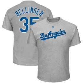 Wholesale Cheap Los Angeles Dodgers #35 Cody Bellinger Majestic Name & Number T-Shirt Gray