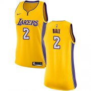 Wholesale Cheap Nike Los Angeles Lakers #2 Lonzo Ball Gold Women's NBA Swingman Icon Edition Jersey