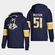 Wholesale Cheap Nashville Predators #51 Austin Watson Navy adidas Lace-Up Pullover Hoodie