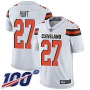 Wholesale Cheap Nike Browns #27 Kareem Hunt White Men's Stitched NFL 100th Season Vapor Untouchable Limited Jersey