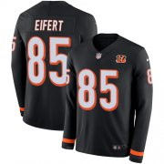 Wholesale Cheap Nike Bengals #85 Tyler Eifert Black Team Color Men's Stitched NFL Limited Therma Long Sleeve Jersey