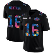 Cheap San Francisco 49ers #16 Joe Montana Men's Nike Multi-Color Black 2020 NFL Crucial Catch Vapor Untouchable Limited Jersey