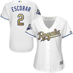 Wholesale Cheap Royals #2 Alcides Escobar White 2015 World Series Champions Gold Program Cool Base Women\'s Stitched MLB Jersey