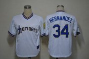 Wholesale Cheap Mariners #34 Felix Hernandez White Cooperstown Stitched MLB Jersey